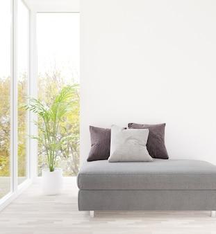 3d que rinde la sala de estar blanca y la pared vacía del sofá gris