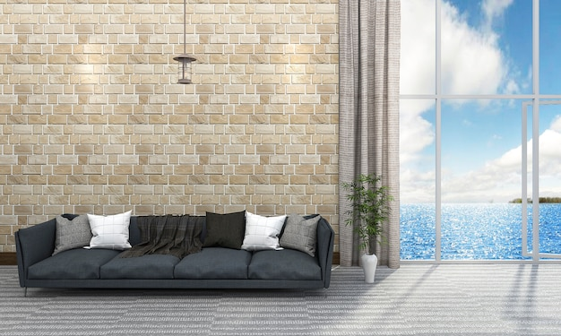 3d que rinde la sala de estar hermosa de la pared de ladrillo con el sofá azul cerca del mar