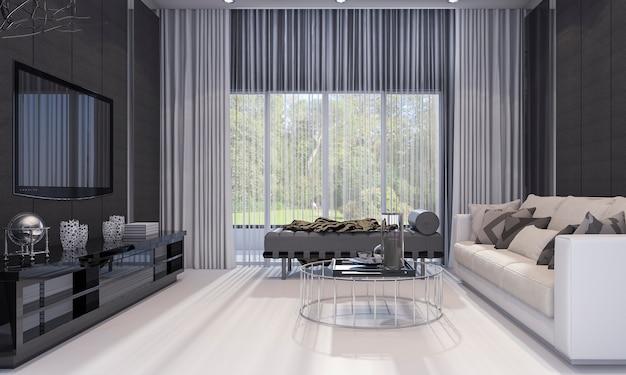 3d que rinde la sala de estar de lujo agradable del diseño moderno con el sofá gris y el estante de la tv