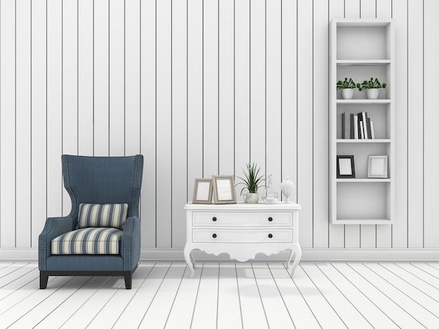 3d que rinde la sala de estar moderna blanca de la pared con la butaca clásica