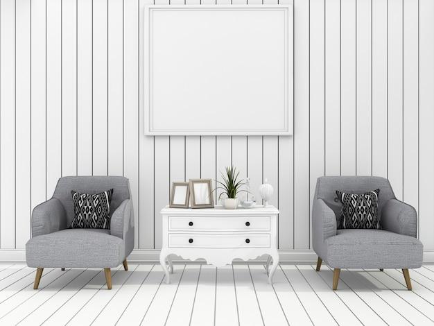 3d que rinde la sala de estar moderna blanca de la pared con la butaca suave
