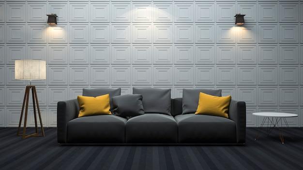 3d que rinde la sala de estar moderna con la decoración mínima del estilo