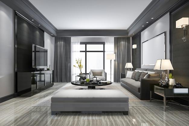 3d que rinde la sala de estar moderna y con el estante