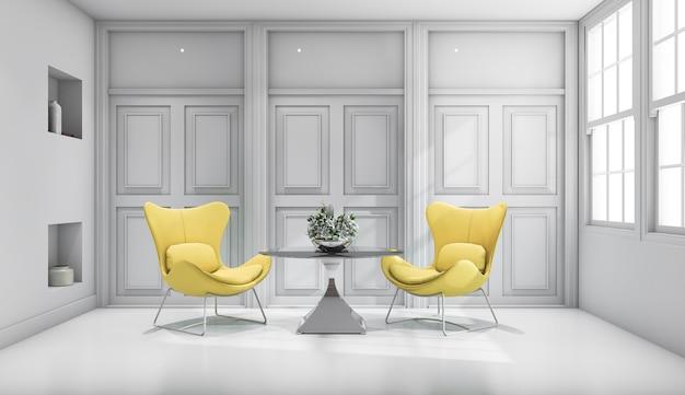3d que rinde la silla amarilla del diseño en la sala de estar clásica blanca
