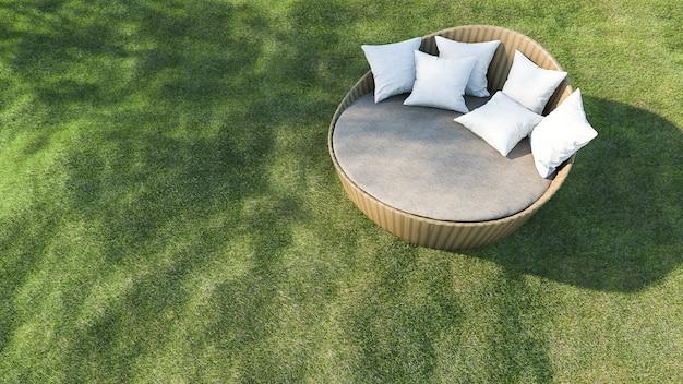 3d que rinde el sofá al aire libre redondo en el campo de hierba