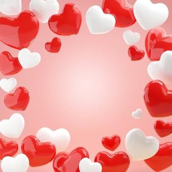 3d realista rojo blanco corazones oldrose fondo feliz día de san valentín ilustración 3d