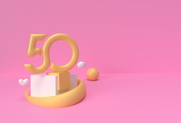 3d render 50 cincuenta productos de visualización de números de publicidad. diseño de ilustración de cartel de volante.