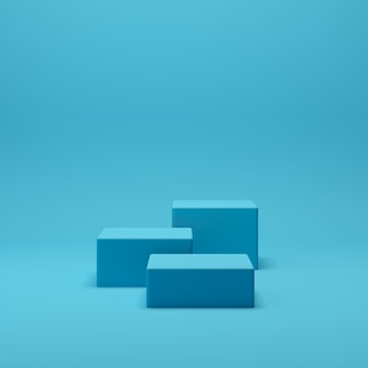 3d render abstracto geometría forma podio escena con fondo azul para exhibición y producto