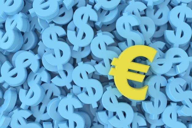 3d render amarillo símbolo del euro entre fondo azul signos de dólar