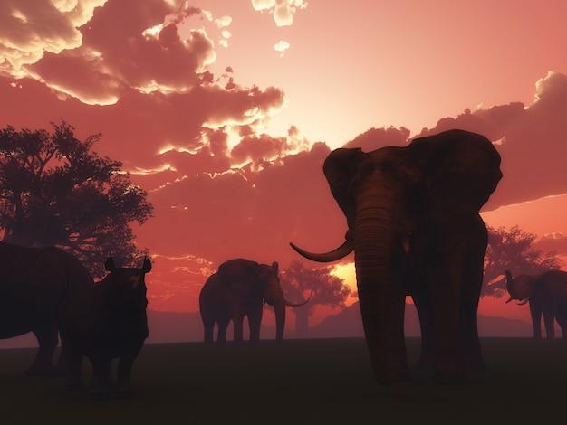 3d render de animales salvajes en un paisaje de puesta del sol