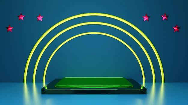 3d render arcos de neón amarillo brillante con estrellas rosadas alrededor y podio verde sobre fondo azul