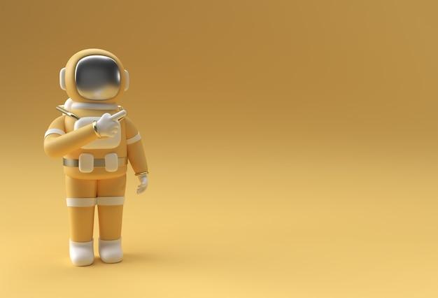 3d render astronauta astronauta mano señalando el gesto del dedo diseño de ilustración 3d.