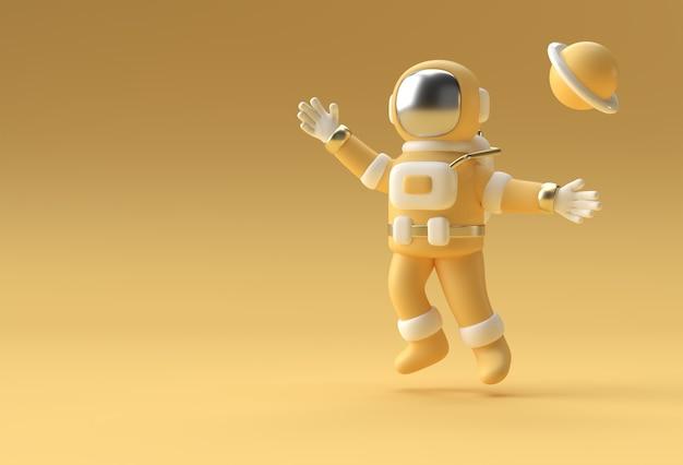 3d render astronauta astronauta saltando diseño de ilustración 3d.