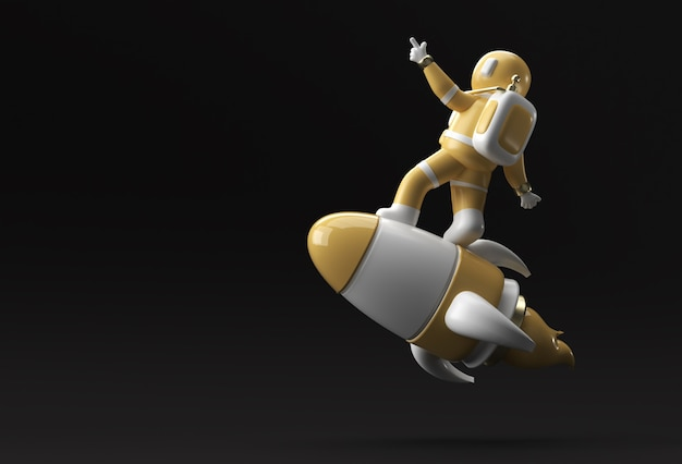 3d render astronauta astronauta volando con cohete diseño de ilustración 3d.
