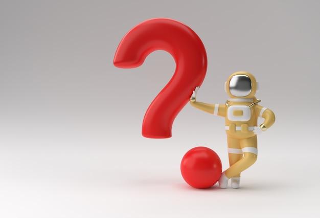 3d render astronauta de pie con signo de interrogación diseño de ilustración 3d.