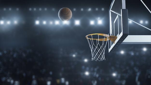3d render baloncesto golpeó la canasta en cámara lenta