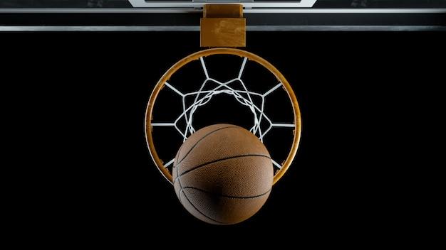 3d render baloncesto golpeó la canasta sobre un fondo negro
