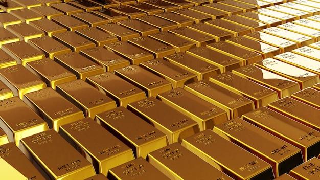 3d render de barra de oro de ladrillo de oro concepto financiero