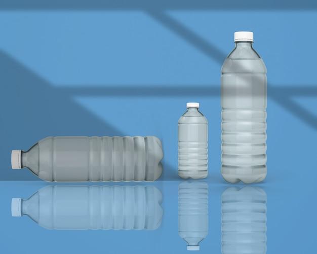 3d render botella de agua mineral aislada en color sólido