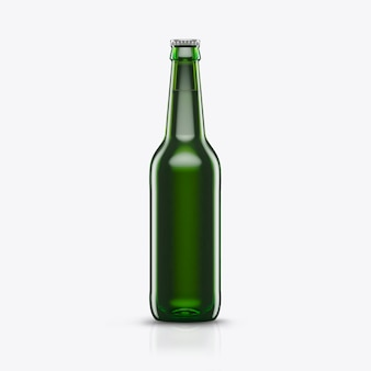 3d render botella de cerveza verde