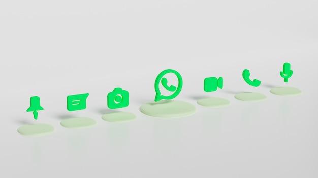 3d render botón del logotipo de whatsapp con iconos de chat