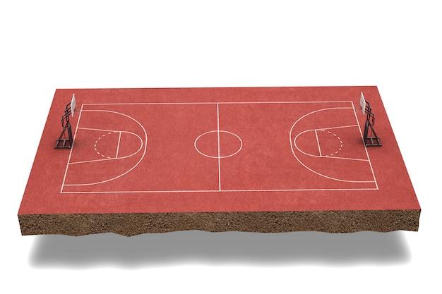 3d render campo de baloncesto