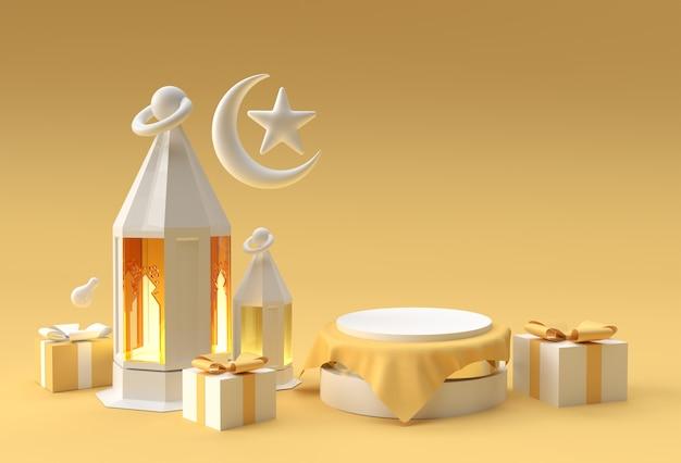 3d render celebración de eid mubarak con escena de escena de podio mínimo para diseño de publicidad de productos de exhibición.