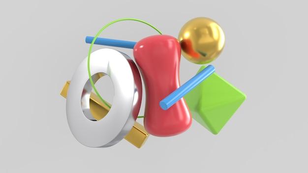 3d render composición abstracta de figuras de diseño gráfico