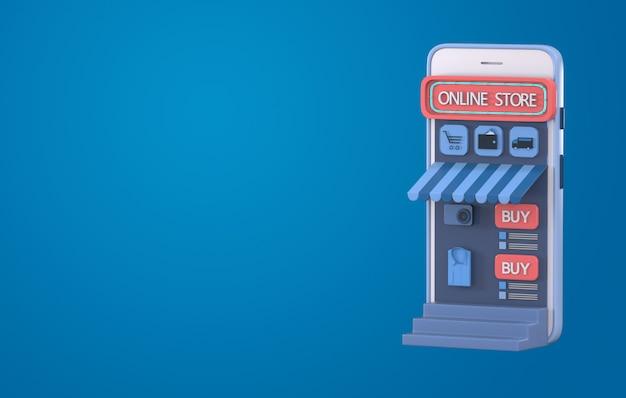 3d render compras en línea en el sitio web o el concepto de aplicación móvil.