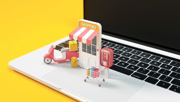 3d render computadora de compras en línea