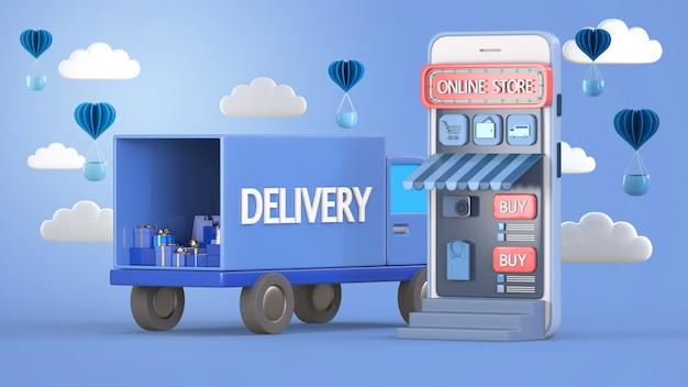 3d render concepto de servicio de entrega en línea, seguimiento de pedidos en línea, logística y entrega, en el móvil.