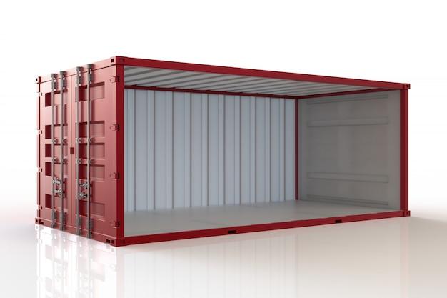 3d render contenedor abierto sobre fondo blanco