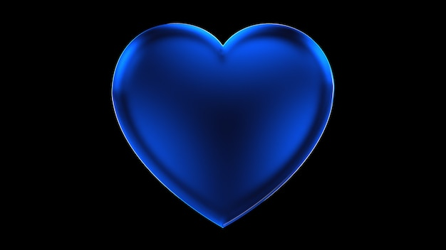3d render corazón azul volumétrico de vidrio