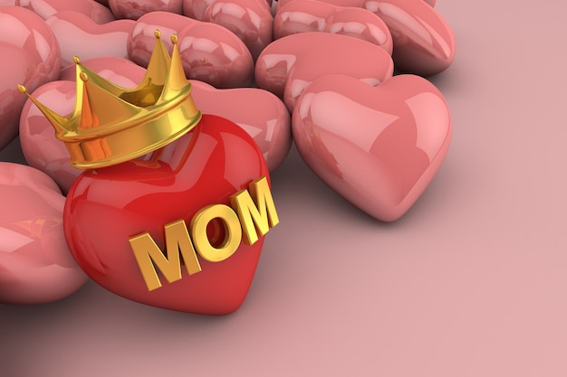 3d render corazón con mamá escrito en él y una corona con más corazones detrás sobre fondo rosa claro