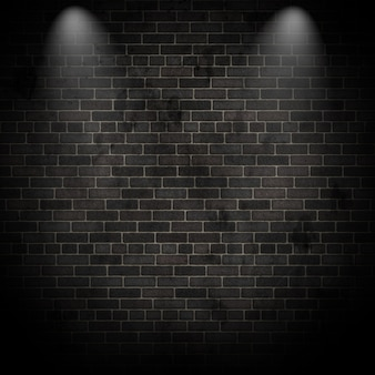 3d render de focos en una pared de ladrillo grunge