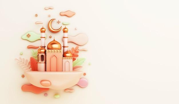 3d render decoración islámica con mezquita, luna creciente y nubes sobre fondo amarillo claro