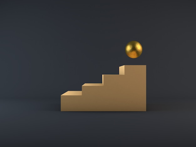 3d render escaleras beige crema y esfera de bronce etapa ganadora