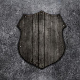 3d render de un escudo de madera sobre un fondo grunge