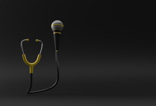 3d render estetoscopio médico realista con diseño de ilustración de micrófono.