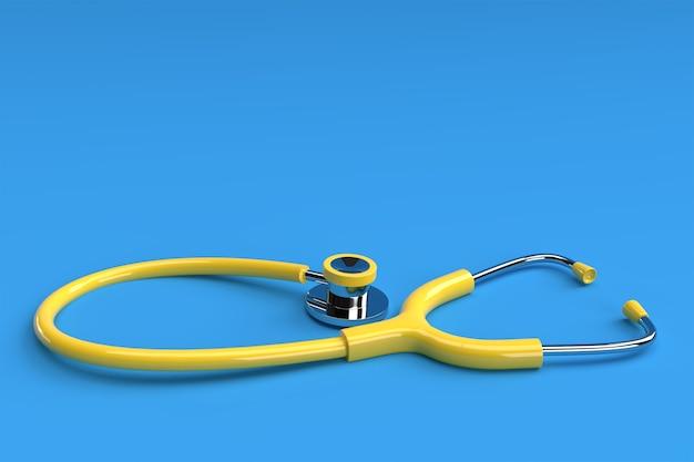 3d render estetoscopio médico realista sobre fondo de color.
