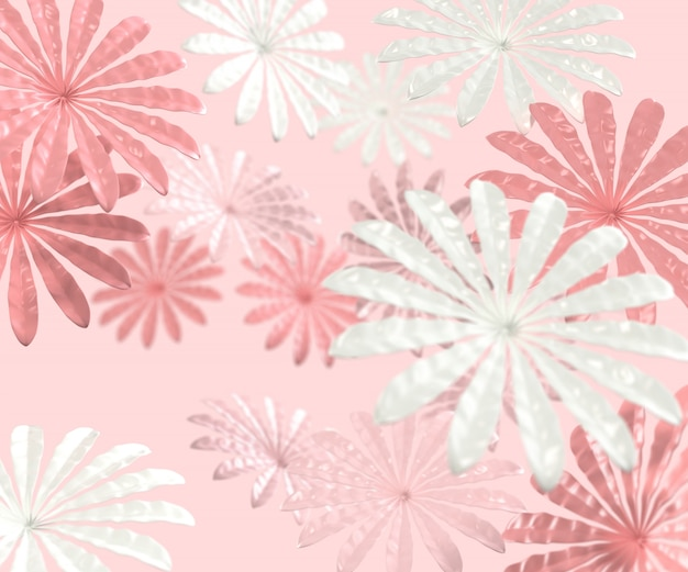 3d render estilo minimalista con flores