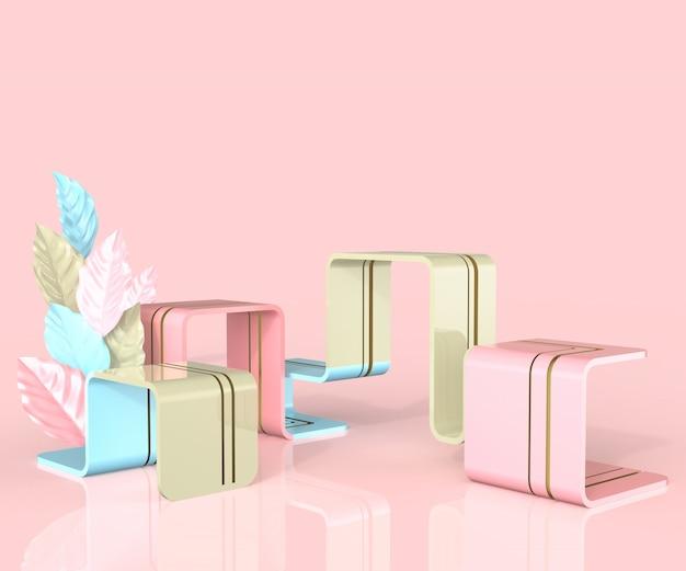 3d render estilo minimalista podio con hojas