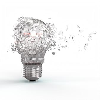 3d render explosión de una bombilla de luz eléctrica de filamento de tungsteno sobre fondo blanco.