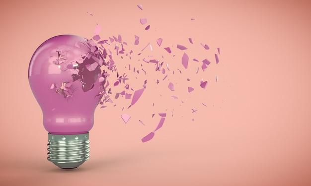 3d render explosión de una bombilla de luz eléctrica rosa sobre un fondo rosa