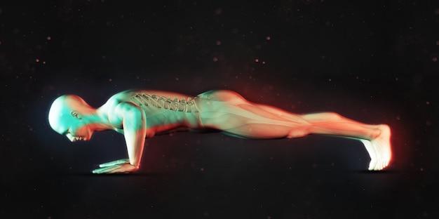 3d render de una figura masculina en posición de lagartijas