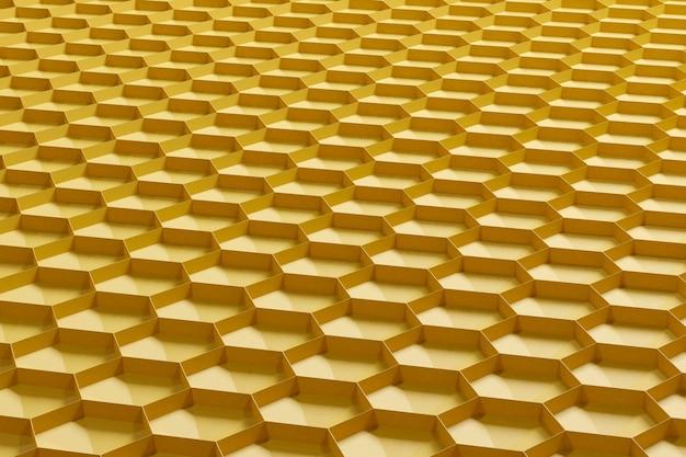 3d render fondo abstracto amarillo en forma de panales. vista lateral.