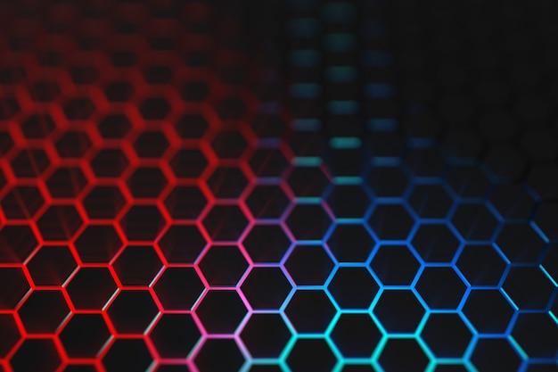 3d render fondo de hexágono de luz azul y roja