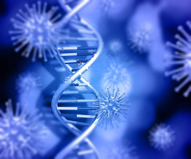 3d render de un fondo médico con cadenas de adn y células de virus