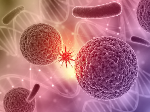 3d render de un fondo médico con una célula de virus atacando a otra