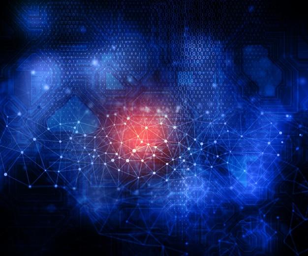 3d render de un fondo moderno de tecnología con líneas y puntos que conectan